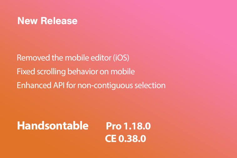 Handsontable Pro 1.18.0 (CE 0.38.0) released