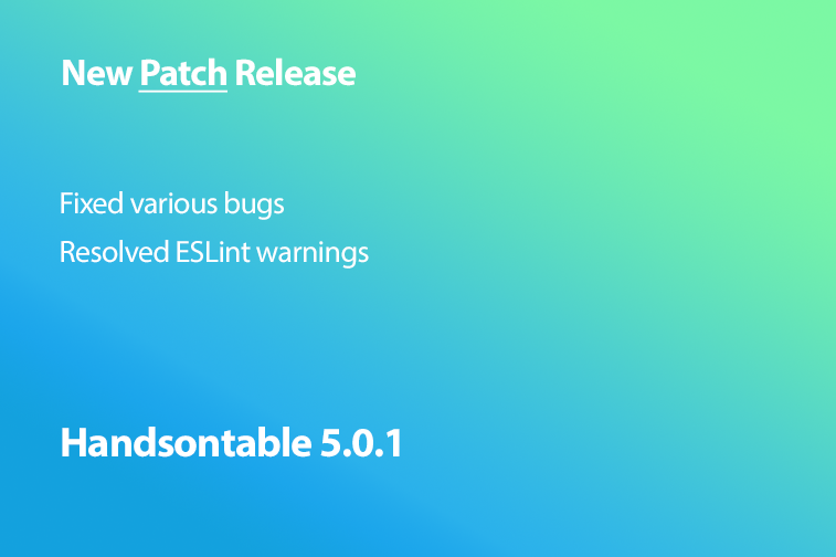 Handsontable 5.0.1 is now released