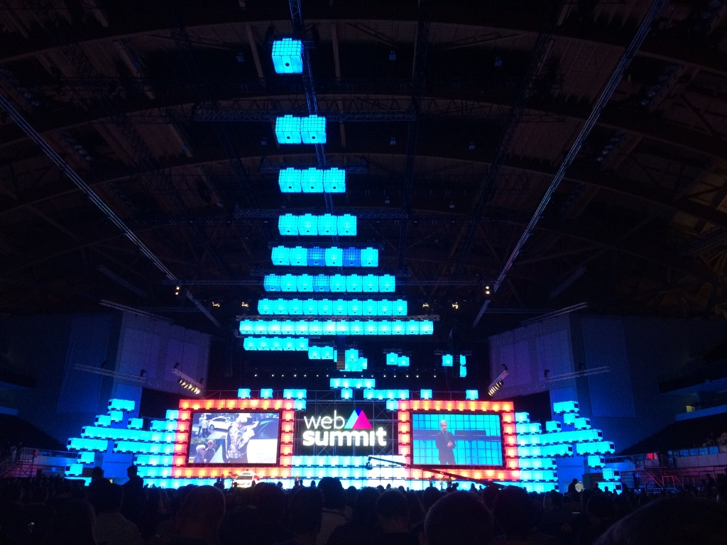 A Web Summit stage lit up