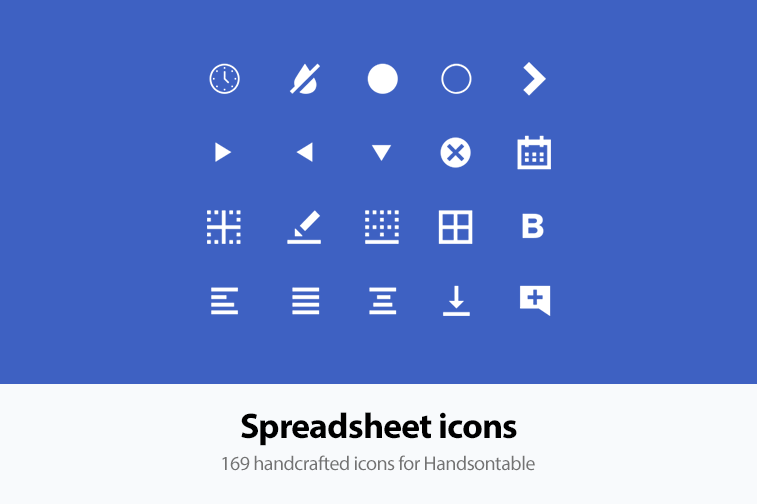 Handsontable spreadsheet icons